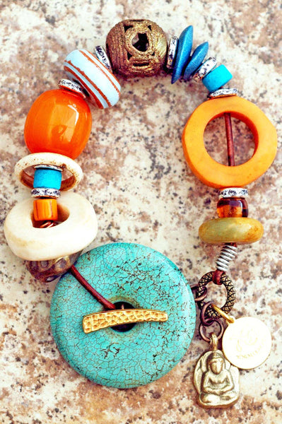 Amber Resin, Orange, Blue and Turquoise Donut Artisan Charm Bracelet