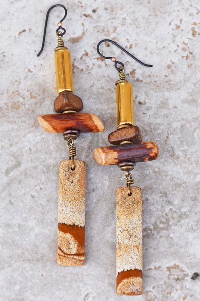 Rustic Brown and White Picture Jasper, Wood and Gold Drop Earrings
