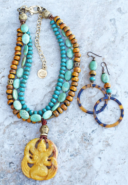 Turquoise Teal Blue, Burnt Horn, African Brass & Jade Pendant Necklace and Tortoiseshell Hoop Earrings