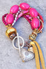 Artisan Multi-Strand Bold Pink, Purple and Silver Heart Charm Bracelet