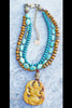 Turquoise Teal Blue, Burnt Horn, African Brass & Jade Pendant Necklace