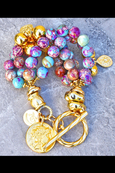 Beautiful and Vibrant Purple, Turquoise and Gold Coin Statement Bracelet