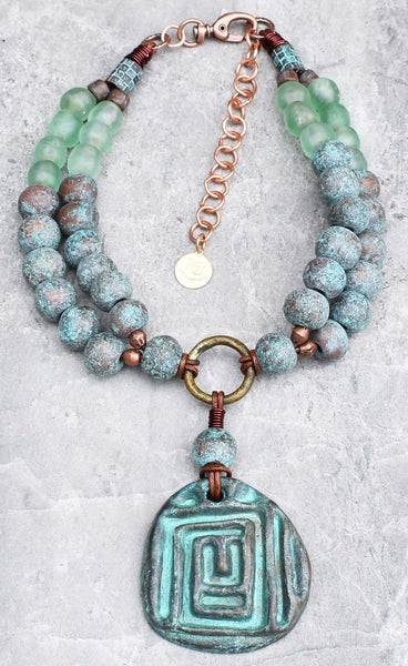 Must Have Summer Turquoise Verdigris and Sea Glass Pendant Necklace