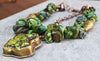 Riveting Lush Green Turquoise, Copper & Tibetan Brass Pendant Necklace