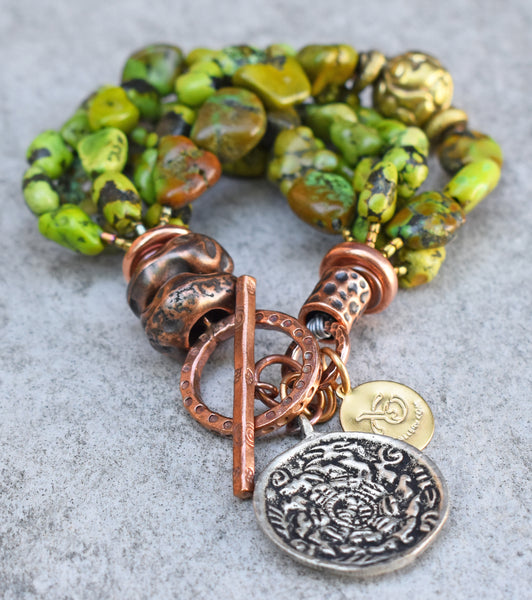 Riveting Lush Green Turquoise, Copper & Tibetan Brass Charm Bracelet