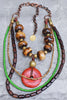 African-Inspired Batik Bone, Green, Brown and Coral Tribal Necklace