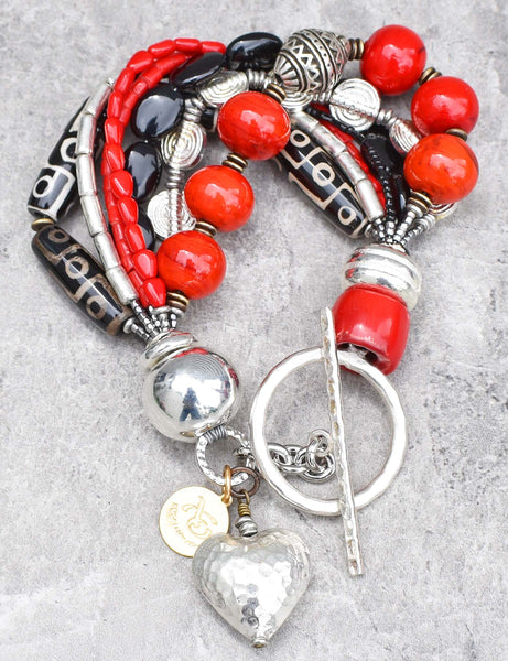 Red, Black and Silver Heart Chunky Charm Bracelet