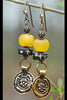 Custom Yellow Amber Resin, Tibetan Prayer Bead and Brass Coin Earrings