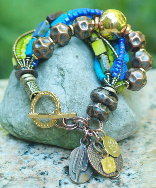 Desert Inspired Copper, Gold, Blue, Purple & Green Glass Charm Bracelet