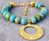 Beautiful Turquoise Magnesite and Turkish Gold Pendant Choker Necklace