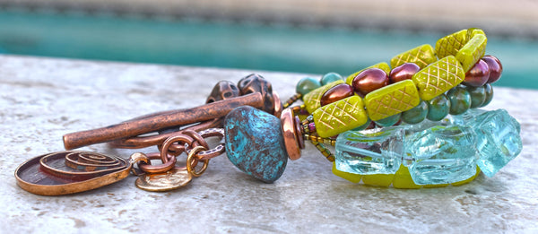 Aqua Blue Quartz, Turquoise Glass, Lime Green Glass and Copper Bracelet