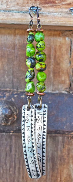 Riveting Lush Green Turquoise, Copper & Tibetan Mantra Scroll Earrings