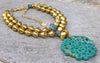 Magnificent African Brass, Gold and Green Blue Jade Medallion Necklace
