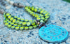 Designer Multi-Strand Lime and Turquoise Statement Pendant Necklace
