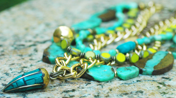 Amazonite, Green Glass, Gold Chain & Turquoise Horn Statement Necklace