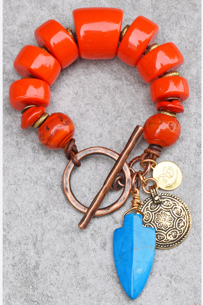 Brilliant and Vibrant Orange and Turquoise Arrowhead Charm Bracelet