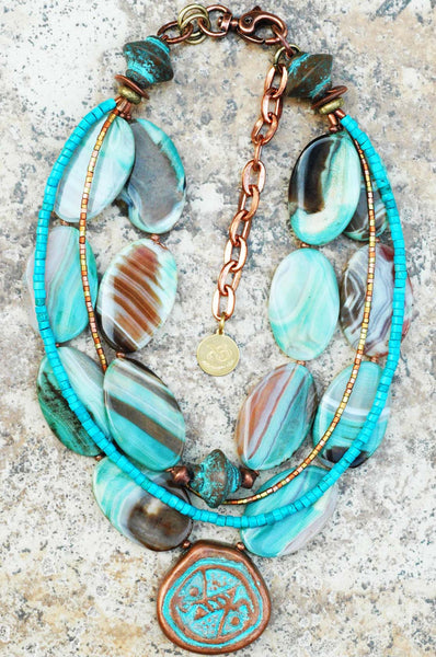 Blue Agate, Turquoise, Copper and Gold Pendant Statement Necklace