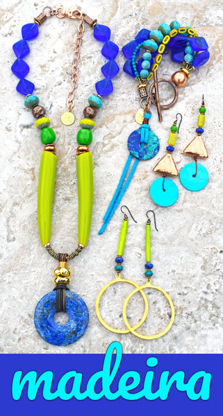 Tropical and Fun Lime Green, Turquoise, Copper and Cobalt Island-Inspired Jewelry
