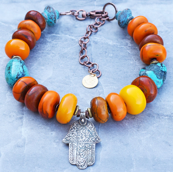 Tibetan Inspired Berber Amber, Turquoise and Silver Hamsa Pendant Necklace