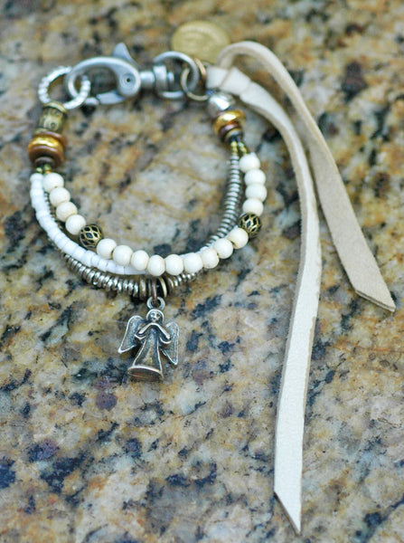 Winter White, Cream, Shell, Leather and Silver Angel Charm Friendship Bracelet