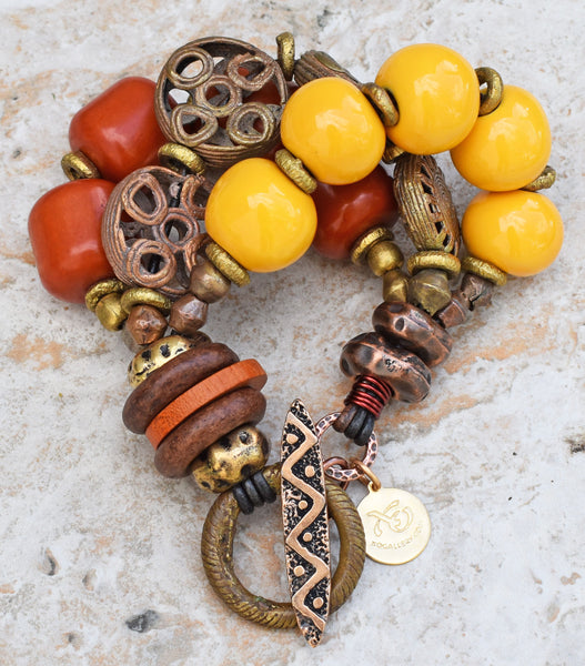 Exotic Amber, Yellow & African Brass Safari Tribal Statement Bracelet
