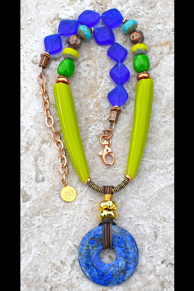 Tropical and Fun Lime Green, Turquoise, Copper and Lapis Disc Necklace