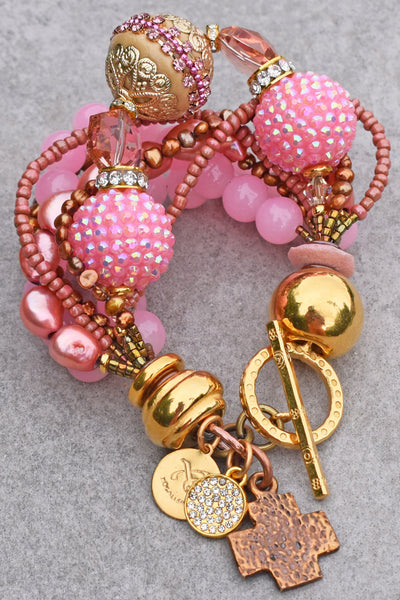Glitz and Glam Pink, Gold, Crystal and Copper Cross Boho Chic Bracelet