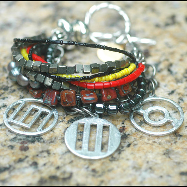 30 Seconds to Mars Gray, Charcoal, Silver Band Symbol Charm Bracelet