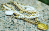 Gorgeous White and Gold Chain Mixed Media Summer Statement Necklace