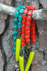 Bold Red, Green & Batik Bone Tribal Boho Chic Long Statement Necklaces