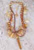 Glamorous and Ravishing Citrine, Copper Pearl & Gold Pendant Necklace