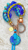 Tropical and Fun Lime Green, Turquoise, Cobalt & Copper Charm Bracelet