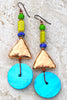 Tropical and Fun Green, Blue, Copper and Turquoise Shell Disc Earrings