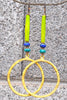 Tropical and Fun Lime Green, Turquoise, Cobalt and Gold Hoop Earrings