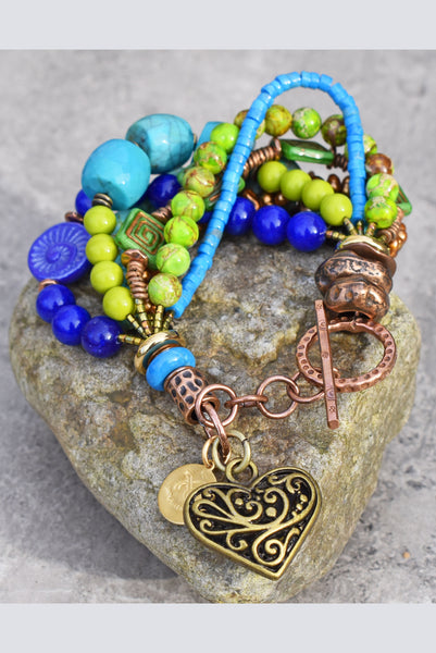 turquoise, blue and green chunky heart charm bracelet