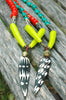 Long Red, Lime Green and Batik Bone Arrowhead Tribal Necklace