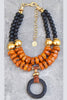 Stunning Black Agate, Copal Amber, Gold and Black Wood Ring Necklace