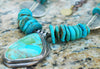 Stunning Arizona Turquoise, Silver Disc and Turquoise Pendant Necklace