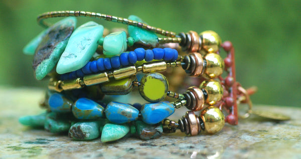 Amazonite, Green Glass, Purple, Gold & Copper Cuff Statement Bracelet