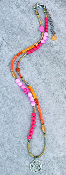 Custom Long Bohemian Pink, Orange, Brass and Silver Medallion Necklace