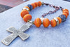 Exotic African Inspired Copal Resin & Ethiopian Coptic Cross Necklace