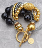 Captivating Black, Gold and Silver Chunky Statement Bracelet