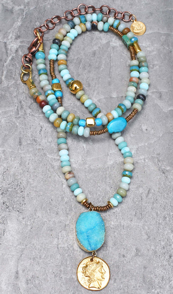 Peruvian Blue Opal, Amazonite, Gold Coin and Druzy Agate Pendant Necklace