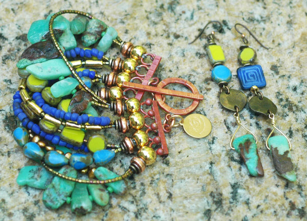 Gorgeous Amazonite, Green, Purple, Gold and Copper Statement Jewelry