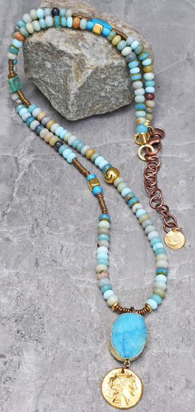 Long boho chic blue opal necklace druzy pendant gold coin