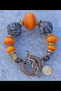 Exotic African Inspired Copal Resin, Brass & Mali Clay Tribal Bracelet