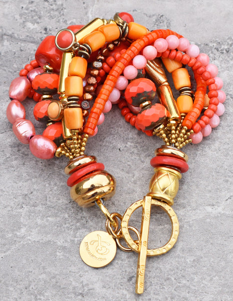 Bright and Vivid Custom Orange, Pink Coral and Gold Statement Bracelet