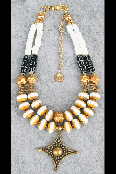 Elegant Versace Style White, Black and Gold Pendant Statement Necklace