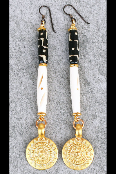 Elegant Versace Style White, Black and Gold Tribal Sun Coin Earrings