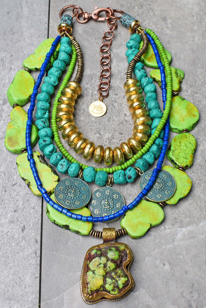 Vibrant Green Turquoise, Blue Moroccan Clay & Tibetan Pendant Necklace